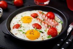 英式早餐-煎蛋 图库摄影