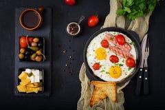 英式早餐-煎蛋 库存照片