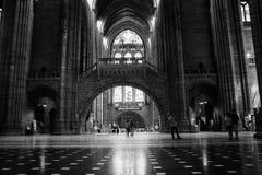 英格兰教会英国国教大教堂的内部在利物浦,英国 免版税库存照片