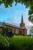 英格兰教会,在日落,惠廷顿村庄,英国 库存照片