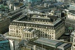 英格兰银行,鸟瞰图 库存照片
