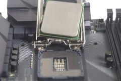 英特尔LGA 1151在主板计算机个人计算机的cpu插口有Proces的 免版税库存照片