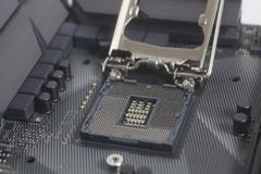 英特尔LGA 1151在主板计算机个人计算机的cpu插口 免版税图库摄影