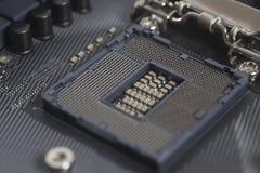 英特尔LGA 1151在主板计算机个人计算机的cpu插口 库存照片
