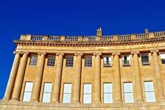 英王乔治一世至三世时期新月形大阳台房子 图库摄影