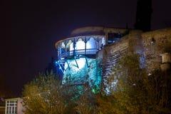 英王乔治一世至三世时期女王/王后宫殿- Dar阳台和大阳台夜视图  免版税库存图片