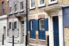 英王乔治一世至三世时期露台的房子在Spitafields 库存图片