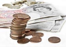 英磅纸币和硬币 库存图片