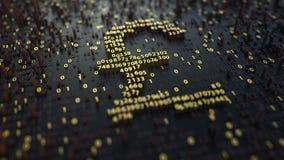 英磅GBP标志由金黄数字做成 3d翻译 免版税库存照片