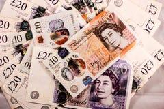 英语二十和十磅金钱混合 库存图片
