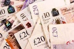 英语二十和十磅金钱混合 免版税库存照片