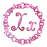 英语字母表信件x,隔绝在白色背景,在一个典雅的框架,手写 o 对设计  皇族释放例证