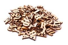 英语字母表的木信件 库存照片