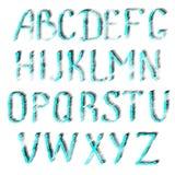 英语字母表绿松石信件  向量例证