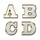 英语字母表金子传染媒介例证 免版税库存照片