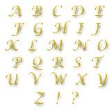 英语字母表金子颜色 免版税库存照片