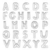 英语字母表镀铬物颜色 免版税库存图片