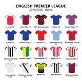 英语英格兰足球超级联赛2015年- 2016年橄榄球或足球被设置的球衣象 免版税库存图片