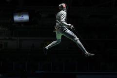 英里美国的Chamley华森在里约2016年奥运会的人的队箔竞争 免版税库存图片