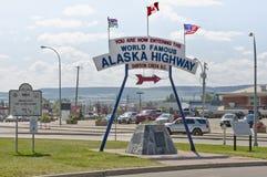 英里0 -阿拉斯加高速公路 免版税库存图片