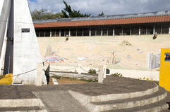 英雄利昂迫害墙壁上的尼加拉瓜公园 图库摄影