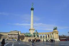 英雄方形的布达佩斯 免版税图库摄影