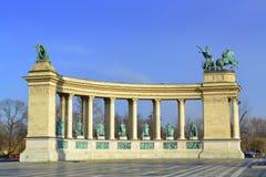 英雄方形的纪念碑布达佩斯 免版税库存图片