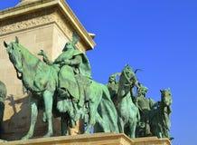 英雄方形的雕塑布达佩斯 库存图片