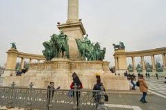 英雄正方形在布达佩斯 免版税库存照片