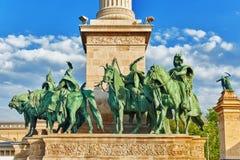 英雄的正方形是其中一个主要正方形在布达佩斯,匈牙利, 免版税库存照片