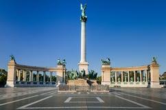 英雄的正方形,千年纪念碑,在布达佩斯 库存照片