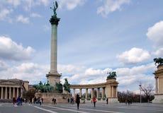 英雄s正方形在布达佩斯,匈牙利 库存照片