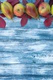 苹果、梨和秋叶在木背景 秋天bac 免版税图库摄影