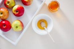 苹果、石榴和蜂蜜犹太新年的 免版税库存图片