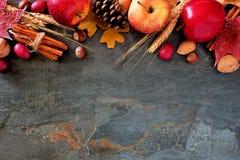 苹果、秋天食物&装饰秋天顶面边界在黑暗的石头 免版税库存照片