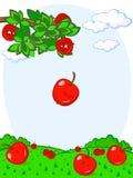 苹果下跌的乐趣 免版税库存照片