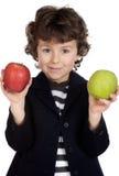 苹果儿童吃二 库存照片
