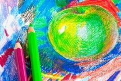 苹果儿童图画  图库摄影