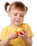 苹果儿童逗人喜爱的红色 库存照片