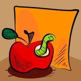 苹果动画片脏的粘性蠕虫 免版税库存照片