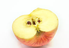 苹果半红色白色 免版税库存照片