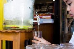 苹果可口刷新的饮料在咖啡馆,被灌输的水结果实 免版税图库摄影