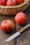 苹果和刀子 库存照片