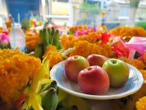 苹果和某一万寿菊崇拜的 免版税库存照片
