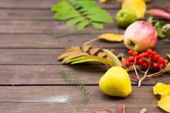 苹果和梨在木背景 图库摄影