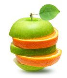 苹果和橙色果子 免版税库存图片