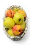 苹果和油桃在篮子 免版税库存图片