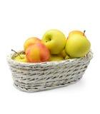 苹果和油桃在篮子 库存图片
