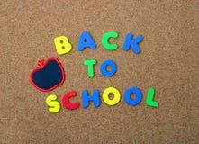 苹果回到黑板在学校上写字 免版税库存照片