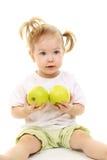 苹果女婴绿色 免版税库存图片